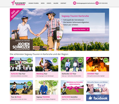 Segway Point Karlsruhe - Homepage im Responsive Design